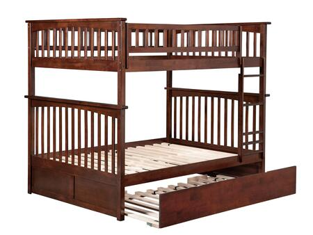 AB55554 Columbia Bunk Bed Full over Full with Twin Size Urban Trundle Bed in