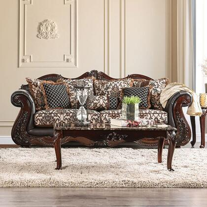Furniture of America Jamael SM6405SF Stationary Sofa Brown, Main Image