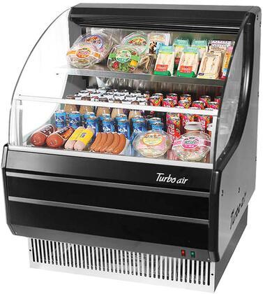 Turbo Air TOM30LBN Display and Merchandising Refrigerator Black, TOM30LBN Angled View