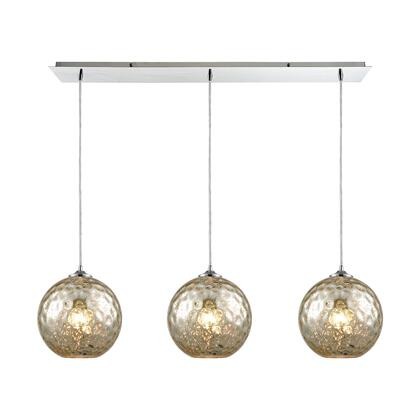 31380/3LP-MRC Watersphere 3 Light Linear Pan Fixture in Polished Chrome with Mercury Hammered