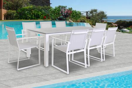 Fine Line Primavera Collection LF05409WTB2039CT 9 Piece Outdoor Dining Set with Ceramic Table Top  Rectangular Shape  Metal Frame Construction and