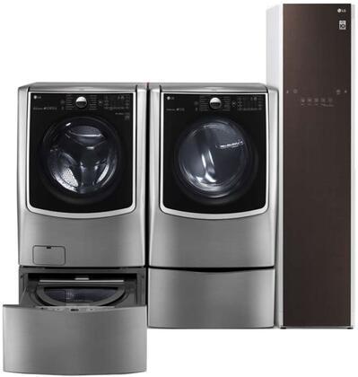 Front Load Smart WM9000HVA 29″ Washer with DLEX9000V 29″ Electric Dryer  WD200CV 29″ SideKick Pedestal  WDP5V 29″ Pedestal and S3RFBN 18″ Styler