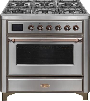 UM09FDNS3SSB 36″ Majestic II Series Dual Fuel Natural Gas Range with 6 Burners and Griddle  3.5 cu. ft. Oven Capacity  TFT Oven Control Display