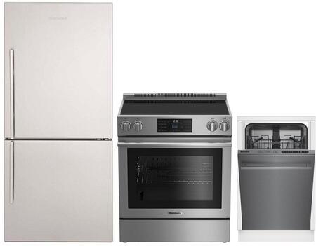 """3-Piece Kitchen Appliances Package with BRFB1812SSN 30"""" Bottom Freezer Refrigerator BERU30420SS 30"""" Electric Range and DWS51502SS 18"""" Built In Fully"""