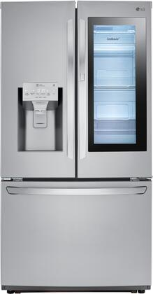 LG LFXC22596S French Door Refrigerator, Main Image with Interior Lit