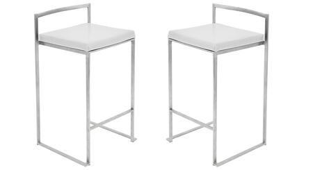 LumiSource Fuji CSFUJIW2 Bar Stool White, Main