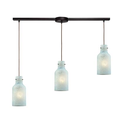45345/3L Weatherly 3 Light Linear Bar Pendant in Oil Rubbed Bronze with Chalky Seafoam
