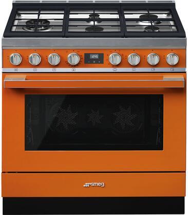 Smeg Portofino CPF36UGMOR Freestanding Dual Fuel Range Orange, Main Image