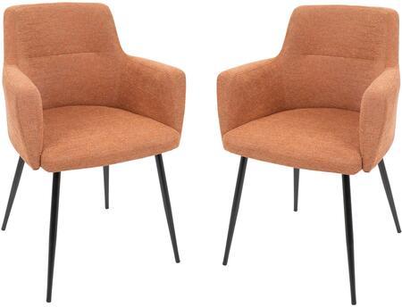 LumiSource Andrew CHANDRWBKO2 Dining Room Chair Orange, CHANDRWBKO2 set