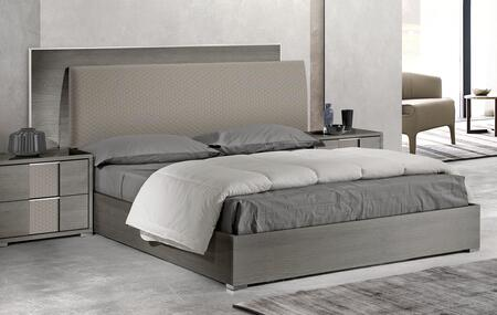 Portofino PORTOF-KGBED-AMGR-42 Anthracite Matte Grey Finish King Bed with Grey Velvet Upholstered Headboard and Silver Finished