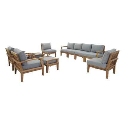 Marina Collection EEI-1489-NAT-GRY-SET 10 PC Outdoor Patio Teak Set in Natural Grey
