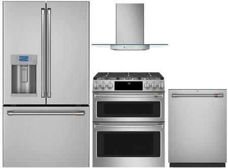 4 Piece Kitchen Appliances Package with CYE22TP2MS1 36″ French Door Refrigerator  CGS750P2MS1 30″ Slide-in Gas Range  CVW73012MSS 30″ Wall Mount