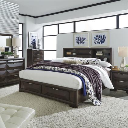 Liberty Furniture 148-BR-QSBDMCN 5 Piece Bedroom Set with Queen Size Storage Bed  Dresser and Mirror  Chest  Nightstand in Cappuccino