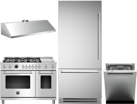 4 Piece Kitchen Appliances Package with REF36PIXL 36″ Bottom Freezer Refrigerator  MAST486GDFSXT 48″ Dual Fuel Range  KU48PRO1X14 48″ Wall Mount