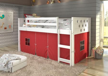 780A-TW-750C-TR 79″ Low Loft with Red Colored Tent  Built in Ladder  Circle Cut Out Design Headboard and Footboard in