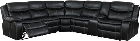 Furniture of America Gatria II CM6982SECTIONAL Sectional Sofa Black, Main Image