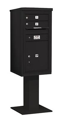 3409S-02BLK Pedestal Mounted 4C Horizontal Mailbox Unit (Includes 3709S-02 Mailbox  26 Inch High Pedestal And Master Commercial Locks) - 9 Door High