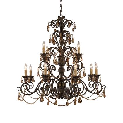 3345/8+4 Rochelle 12-Light Chandelier with Amber
