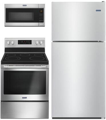 "3 Piece Kitchen Appliances Package with MRT311FFFZ 33"" Top Freezer Refrigerator MER6600FZ 30"" Electric Range and MMV1175JZ 30"" Over the Range"