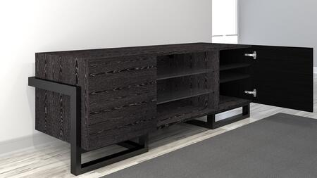 FT70ST 70″ Deco Collectio Console TV with Adjustable Tempered Glass Shelves  Engineered Graphite Veneer Finish  Adjustable Wood Shelves and