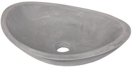 EB_N005DG Concrete Canoe Vessel Sink  Dark Gray with pop-up or Grid Drain in Dark