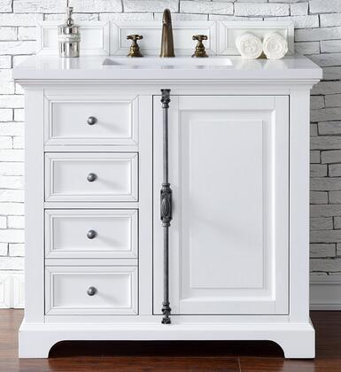 Providence Collection 238-105-V36-CWH-3OGLB 36″ Single Vanity Cabinet  Cottage White  with 3 CM Galala Beige Top with Oval