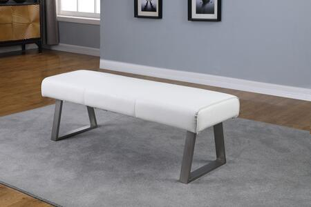 GWEN-BCH-WHT Contemporary Rectangular Bench with Charcoal Gray Double Stitching in Brushed Stainless