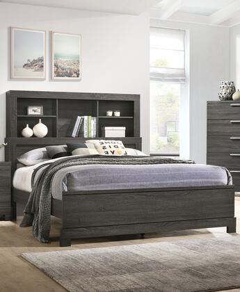 Acme Furniture Lantha 22027EK Bed Gray, Angled View