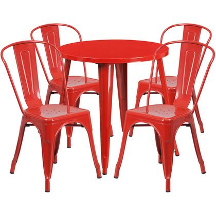 CH51090TH Collection CH-51090TH-4-18CAFE-RED-GG 5 Piece Indoor-Outdoor Table Set with Cafe Chairs  Drain Holes  Round Table Top  Protective Rubber