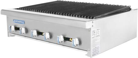TARB-36 36″ Heavy Duty Counter Top Radiant Broiler with 6 Burners  90000 BTU Output  Removable Grease Pan and Cast Iron Radiant in Stainless