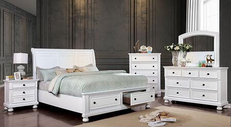 Furniture of America Castor CM7590WHCKBEDNSCHDRMR Bedroom Set White, CM7590WH-CK-BED-NSCHDRMR