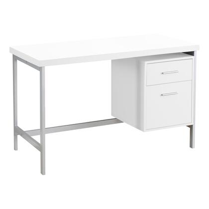 333387 47″ Computer Desk with 2 Drawers  Metal Handles  Contemporary Style  Metal Frame  Particle Board and Medium-Density Fiberboard (MDF) Materials