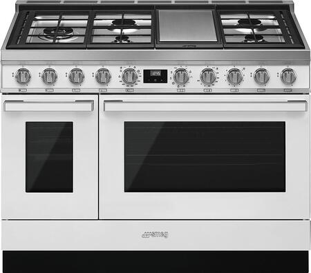 Smeg Portofino CPF48UGMWH Freestanding Dual Fuel Range White, Main Image