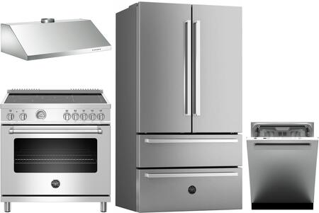4 Piece Kitchen Appliances Package with REF36X 36″ French Door Refrigerator  MAST365INMXE 36″ Electric Induction Range  KU36PRO1X14 36″ Wall Mount