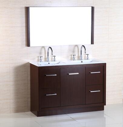 Bellaterra Home 502011A 502001A48DSET Sink Vanity Brown, Vanity and Mirror Set