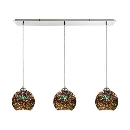10517/3LP Illusions 3-Light Linear Pan in Polished Chrome with 3-D Starburst Glass