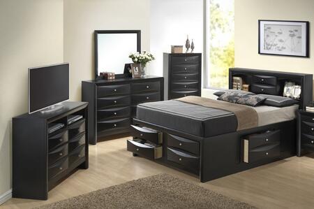 Glory Furniture G1500G G1500GFSB3CHDMTV Bedroom Set Black, Main Image