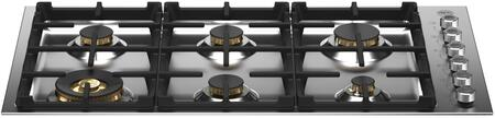 Bertazzoni Professional PROF366QBXT Gas Cooktop Stainless Steel, PROF366QBXT Brass Burner Drop In Gas Cooktop
