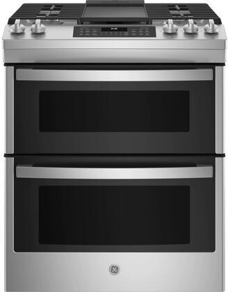 GE  JGSS86SPSS Slide-In Gas Range Stainless Steel, JGSS86SPSS Slide-In Front Control Gas Double Oven Range