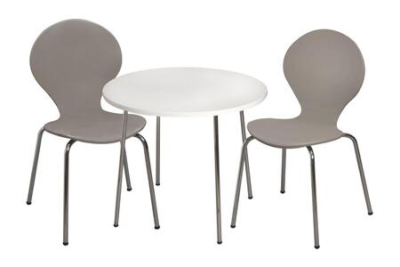 3012G Modern Children's Table and 2 Chair Set with Chrome Legs (Grey Color