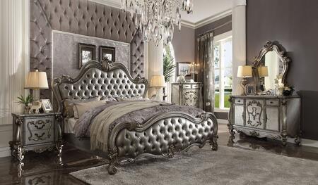 Acme Furniture Versailles II 26837EKSET Bedroom Set Silver, Bedroom Set