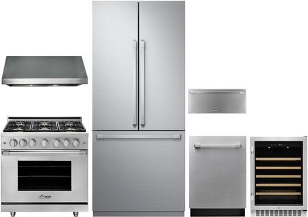 6 Piece Kitchen Appliances Package with 36″ French Door Refrigerator  36″ Gas Range  36″ Wall Mount Hood  24″ Fully Integrated Dishwasher  24″ Wine
