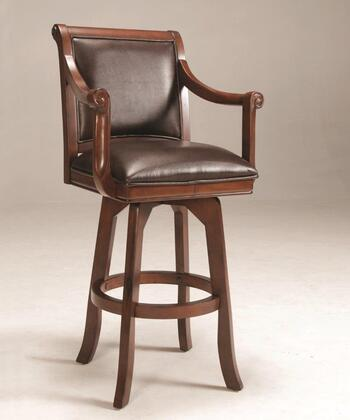 4185-830 Palm Springs 46 Bonded Leather Upholstered Swivel Bar Stool with Wood Frame in Brown
