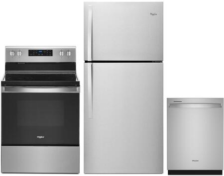 3 Piece Kitchen Appliances Package with WRT549SZDM 30″ Top Freezer Refrigerator  WFE525S0JZ 30″ Electric Range and WDT970SAHZ 24″ Built In Fully