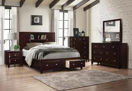 Myco Furniture Boston BS455QNCMDR Bedroom Set Brown, BS455QNCMDR Main Image