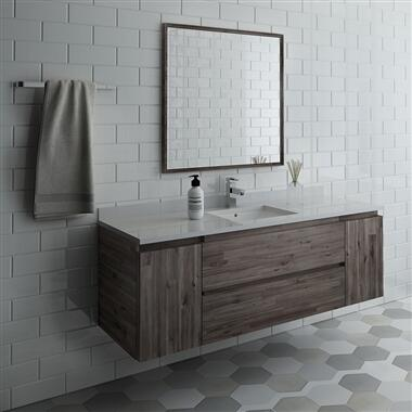 Formosa Collection FVN31-123612ACA 60″ Wall Hung Single Sink Modern Bathroom Vanity with
