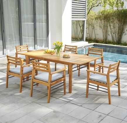 V1919SET2 Gloucester Teak-like 7-Piece Dining Set with Table and 6x Arm Chairs in Natural
