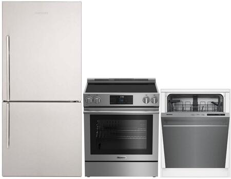 """3-Piece Kitchen Appliances Package with BRFB1812SSN 30"""" Bottom Freezer Refrigerator BERU30420SS 30"""" Electric Freestanding Range and DWT51600SS 24"""""""