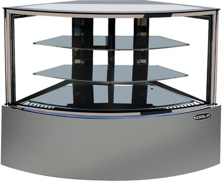 KBF-60CD 60″ Corner Dry Display Case with 15.9 cu. ft. Capacity  LED Lighting and 2 Adjustable Shelves in Stainless