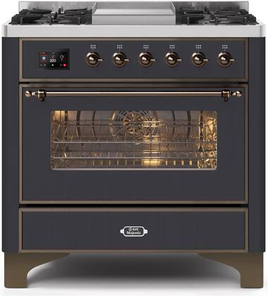 UM09FDNS3MGB 36″ Majestic II Series Dual Fuel Natural Gas Range with 6 Burners and Griddle  3.5 cu. ft. Oven Capacity  TFT Oven Control Display